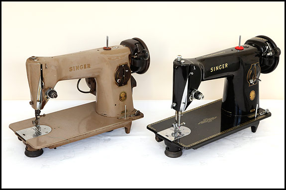 Black and brown Singer 201KMk2 sewing machines