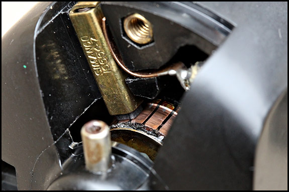 Picture of brush and commutator of Singer sewing machine motor