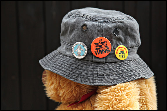 Picture of Stoner the Bear wearing my Festival Hat