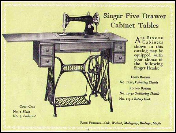 Catalogue picture of vintage Singer treadle machine