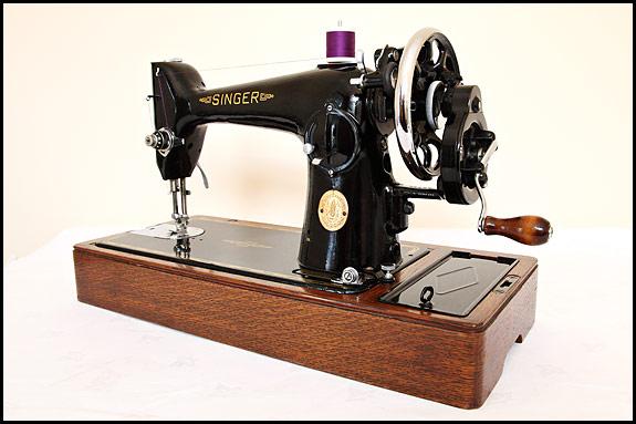 Rear view of Singer 201K sewing machine made in 1949