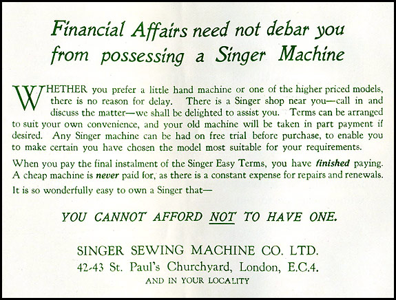 Scan of page from 1929 Singer sewing machine brochure