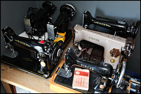 Picture of vintage Singer sewing machines