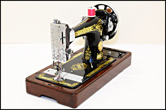 Singer 28K with 128-style high-level bobbin winder